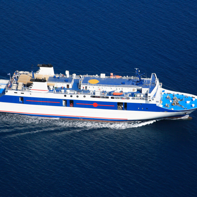 """""""Aerial view on a ferry boat in the ionian sea"""" stock image"""