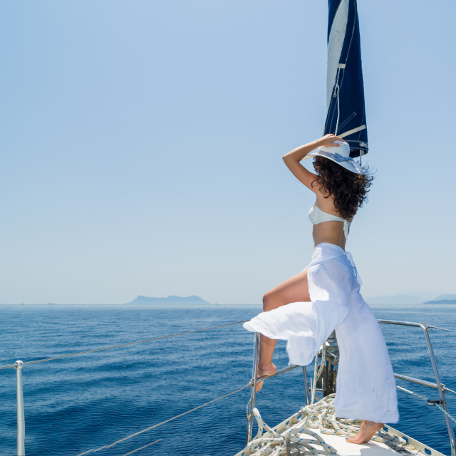 """""""Woman on a sailing boat in the Ionian sea"""" stock image"""