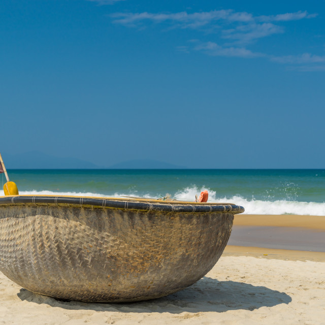 """""""fishing boat on the beach of Hoi An"""" stock image"""