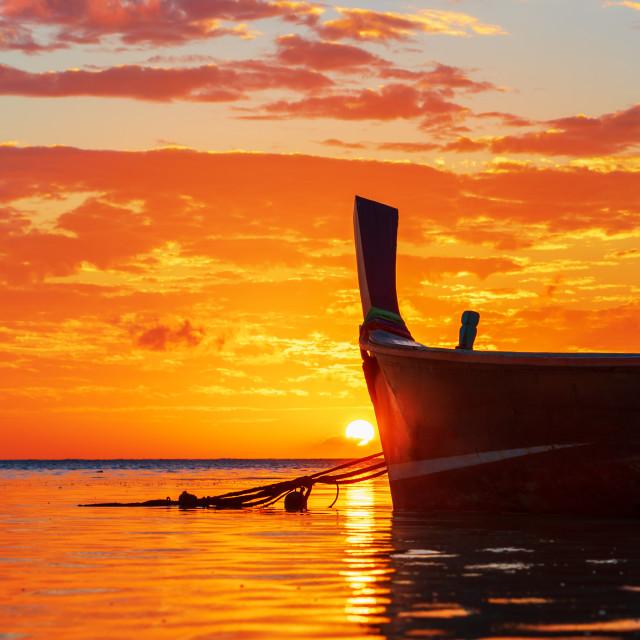 """Rawai beach with andaman long tailed boat southern of thailand o"" stock image"