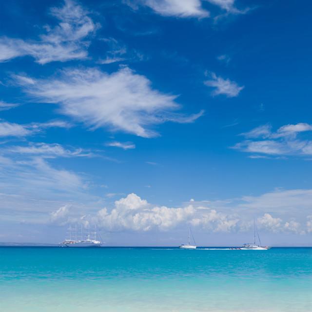 """""""The village of Parga Greece Valtos beach"""" stock image"""