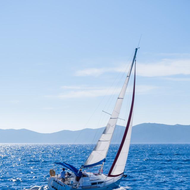 """Sailing yacht in Lefkada Greece"" stock image"