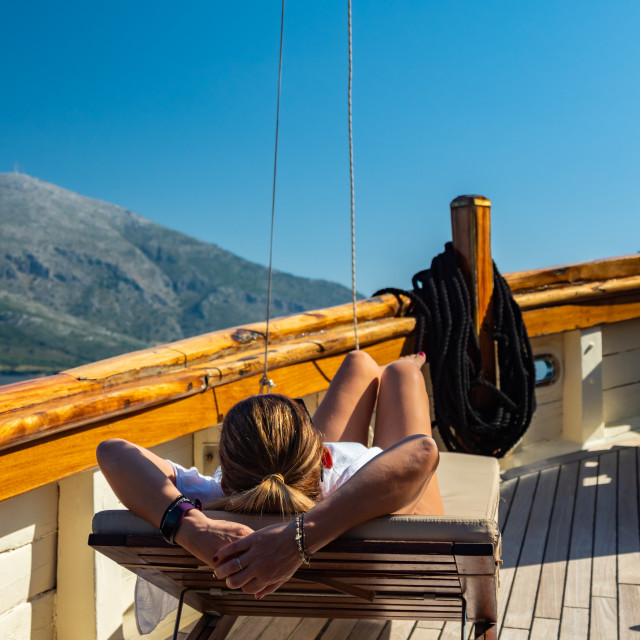 """""""Woman sailing in the Ionian sea"""" stock image"""