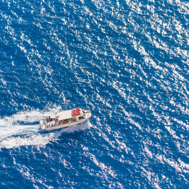 """""""view on a boat in azure water"""" stock image"""