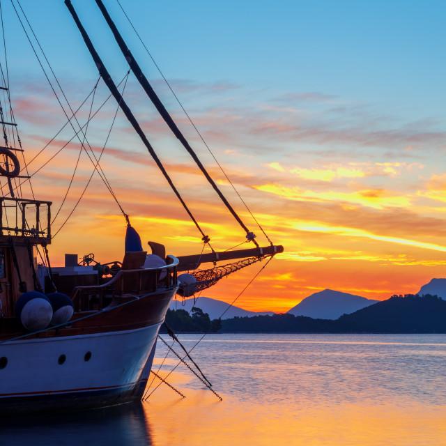 """Sunrise on the bay of Nidri in Lefkas island Greece"" stock image"