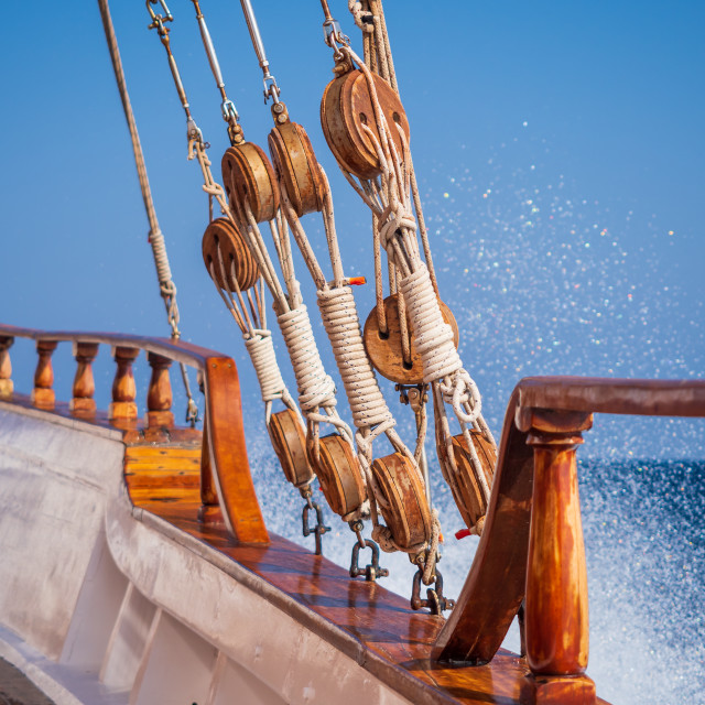 """Old ship tackles. Old sailing ship vessel."" stock image"