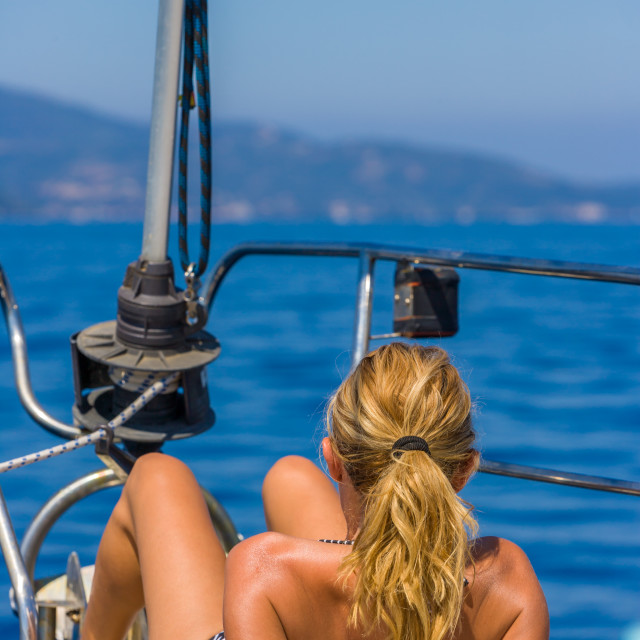 """""""Young woman Sailing On boat in Greece"""" stock image"""
