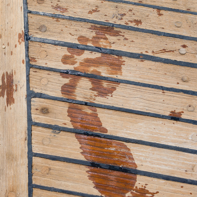 """""""footprint on the wooden deck"""" stock image"""