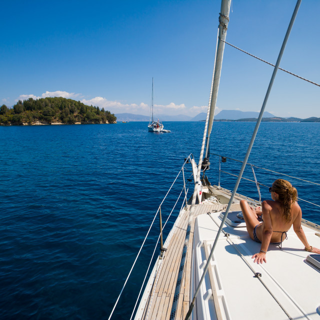 """Young woman Sailing"" stock image"