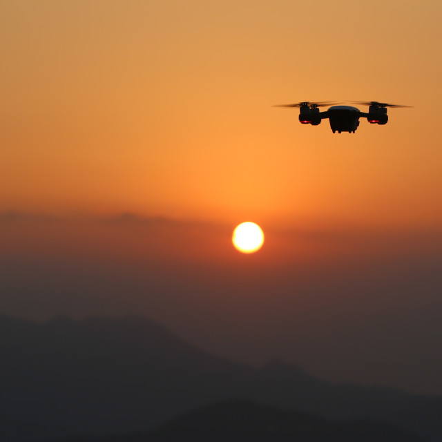 """Drone at Sunset"" stock image"