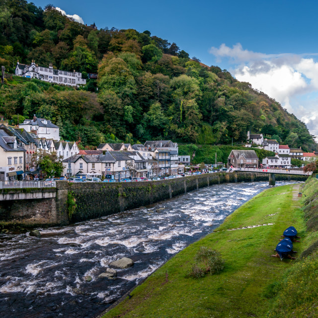 """""""Lynmouth Panorama"""" stock image"""