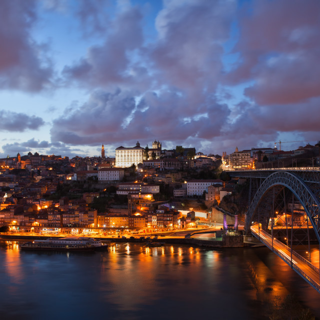 """""""City of Porto at Dusk in Portugal"""" stock image"""