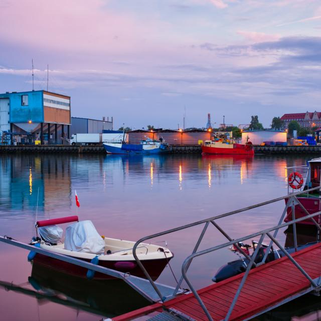 """""""Wladyslawowo Port at Twilight"""" stock image"""