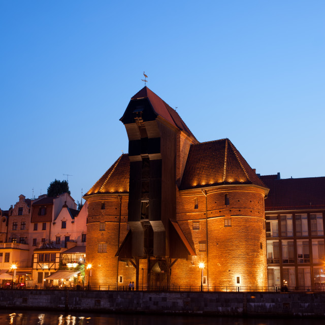 """""""The Crane at Night in Gdansk"""" stock image"""