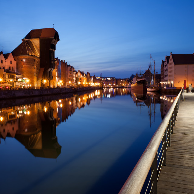"""""""City of Gdansk by Night in Poland"""" stock image"""