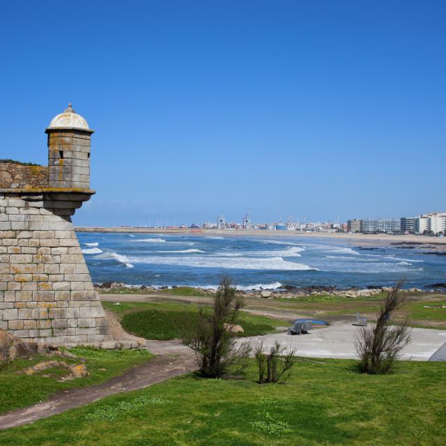 """""""Matosinhos City and Castelo do Queijo"""" stock image"""