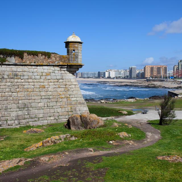 """""""Castelo do Queijo and Matosinhos Skyline"""" stock image"""