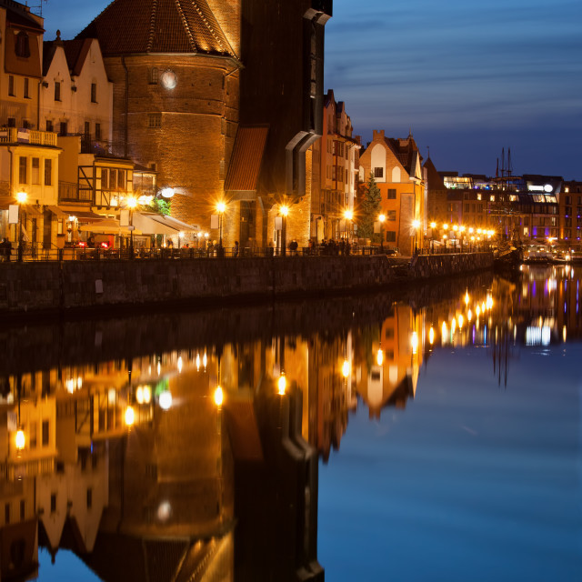 """The Crane at Dusk in Gdansk"" stock image"