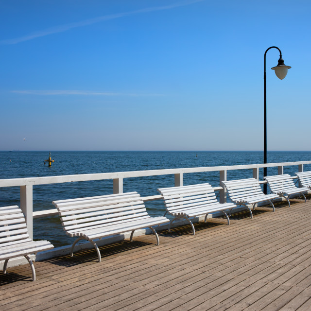 """Pier at Baltic Sea in Gdynia Orlowo"" stock image"