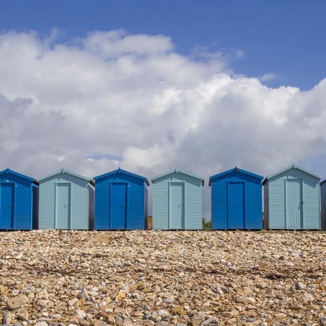 """Blue beach huts"" stock image"