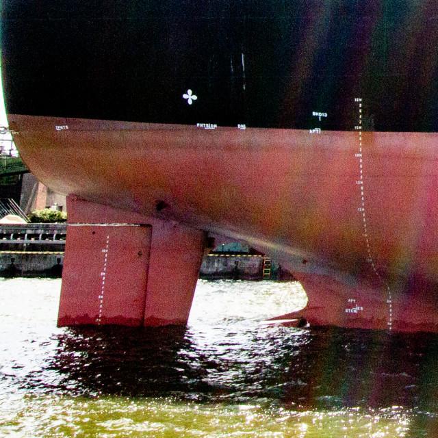 """Swinoujscie, Photographs of a Polish Seaport. Ships Stern."" stock image"