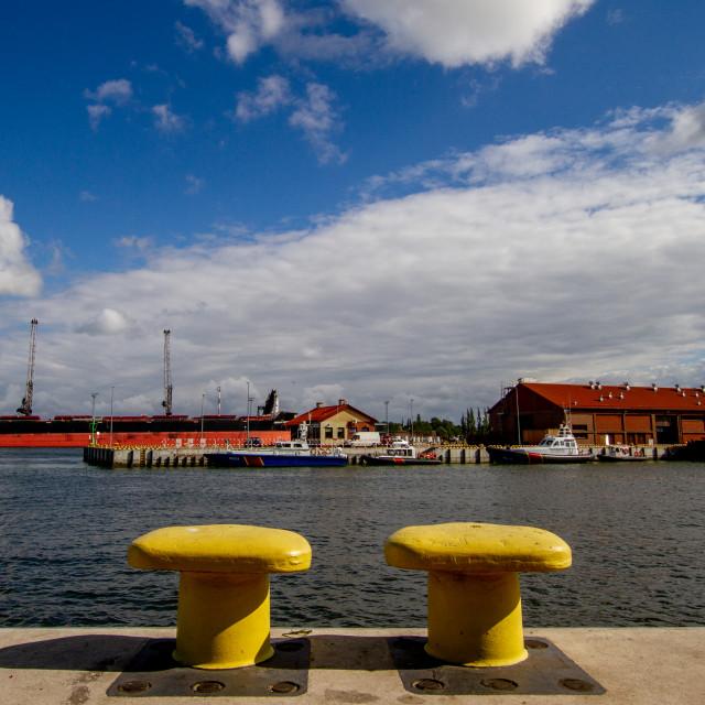 """Swinoujscie, Photographs of a Polish Seaport., Bollards."" stock image"