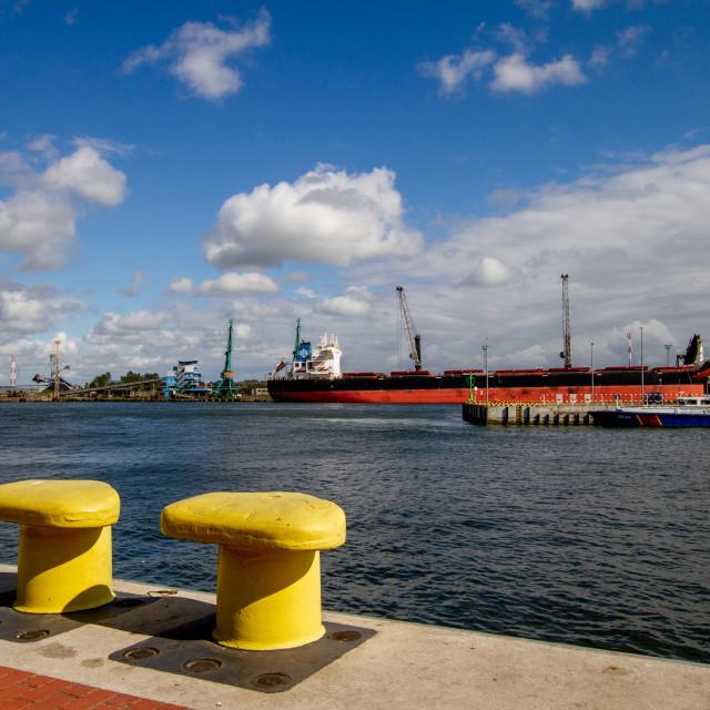 """Swinoujscie, Photographs of a Polish Seaport. Mooring Bollards."" stock image"