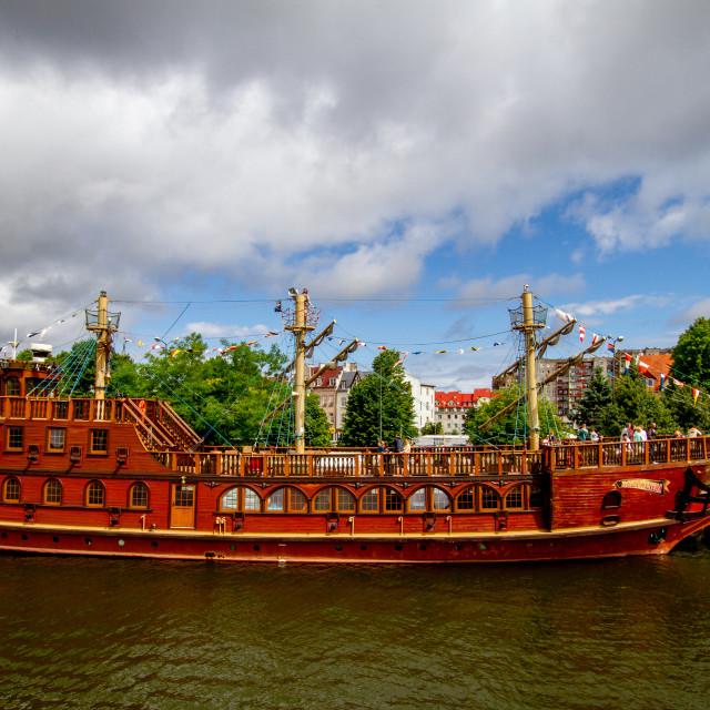 """Swinoujscie, Photographs of a Polish Seaport., Replica Pirate Ship, Roza Weneda."" stock image"