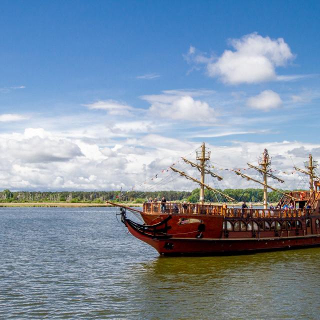 """Swinoujscie, Photographs of a Polish Seaport., Replica Pirate Ship."" stock image"