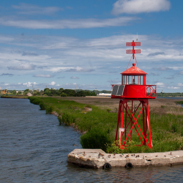 """""""Swinoujscie, Photographs of a Polish Seaport. Red Harbour Signal Light"""" stock image"""