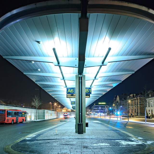 """The bus station of Coburg"" stock image"