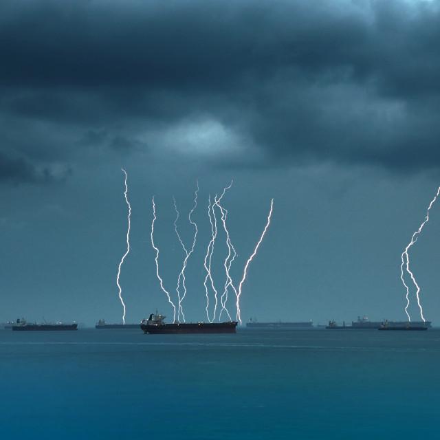 """""""Ships at Sea"""" stock image"""