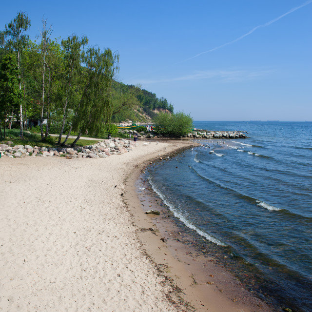 """Beach in Gdynia at Baltic Sea in Poland"" stock image"