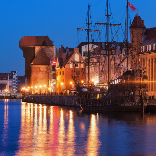 """Old Town of Gdansk at Night"" stock image"