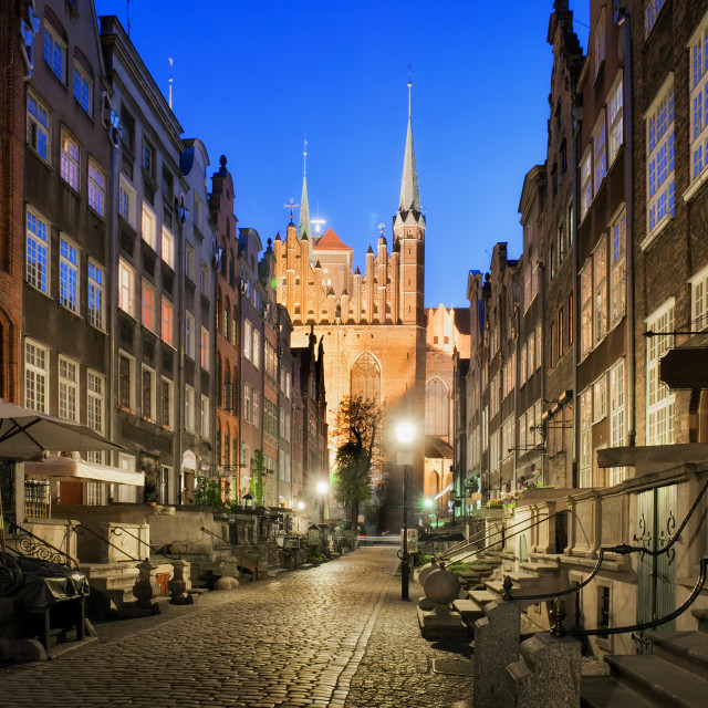 """Mariacka Street at Night in Gdansk"" stock image"