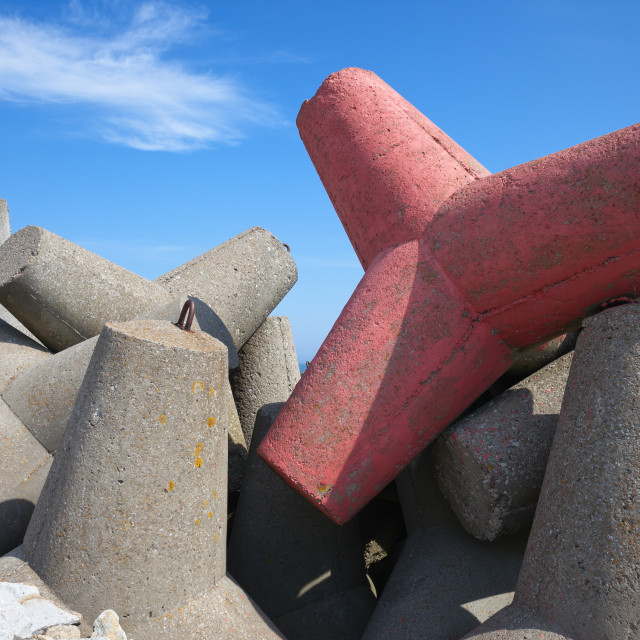 """Sea Breakwater Concrete Blocks"" stock image"