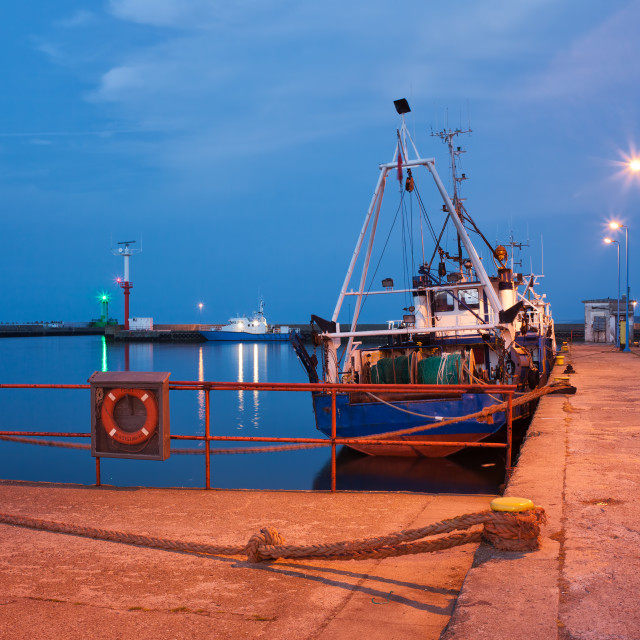 """Fishing Boats in Wladyslawowo Port at Dusk"" stock image"