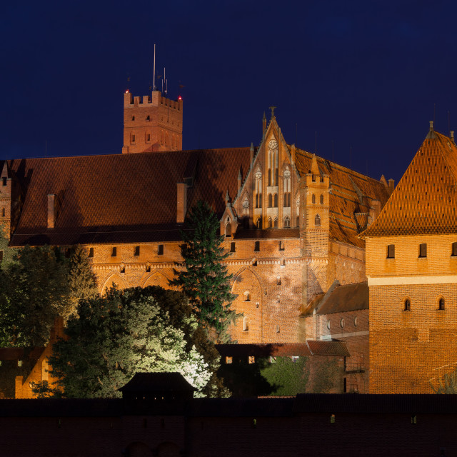 """High Castle of the Malbork Castle at Night"" stock image"