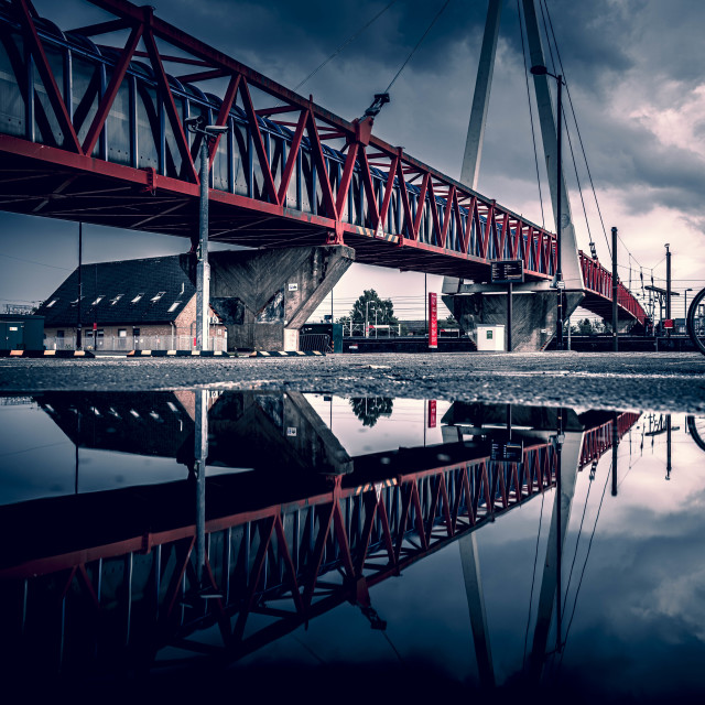 """""""Moody Reflections from Cycle Bridge next to Cambridge South Train Station."""" stock image"""