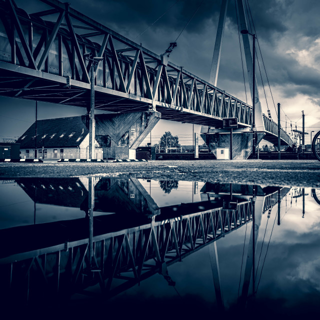 """""""Black and White Reflections from Cambridge South Train Station."""" stock image"""