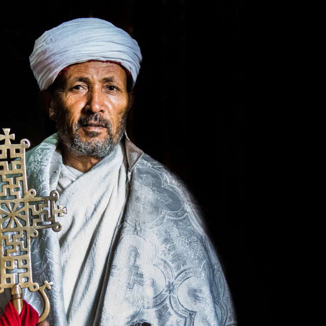 """Orthodox priest in a monastery in Lalibela (Ethiopia)"" stock image"