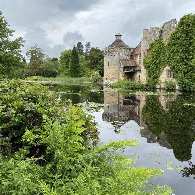 """Reflection at Scotney Castle"" stock image"