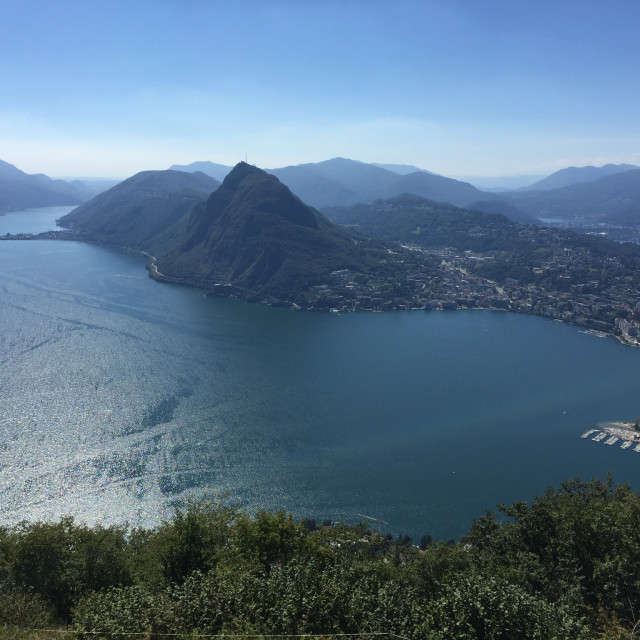 """Lake Lugano from above"" stock image"