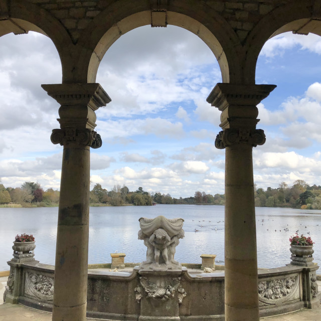 """Lake at Hever Castle"" stock image"