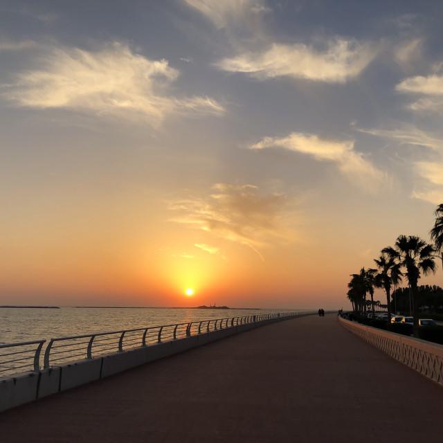 """Sunset on the Palm, Dubai"" stock image"