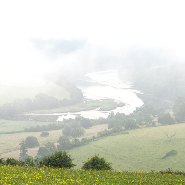 """Early morning mists - Dart estuary"" stock image"