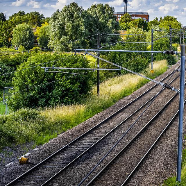"""Train Track, Cambridge UK."" stock image"