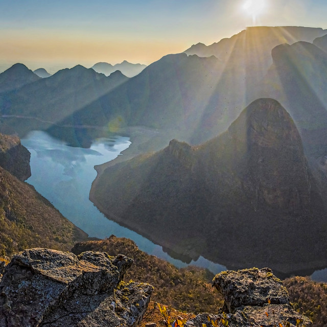 """Blyde River Canyon Sunrise Panorama 01"" stock image"