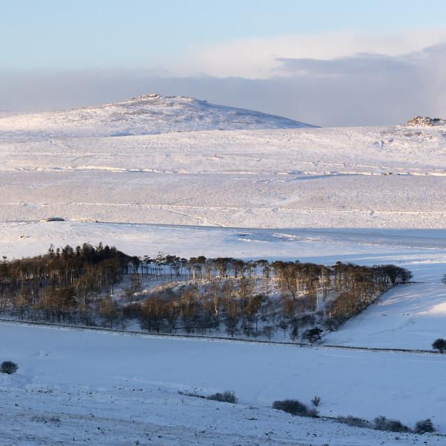 """Dartmoor Winter Panorama"" stock image"