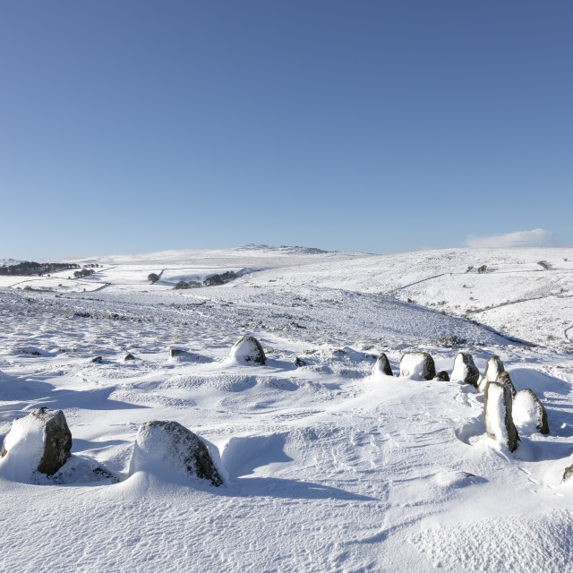 """Nine Maidens in Snow"" stock image"